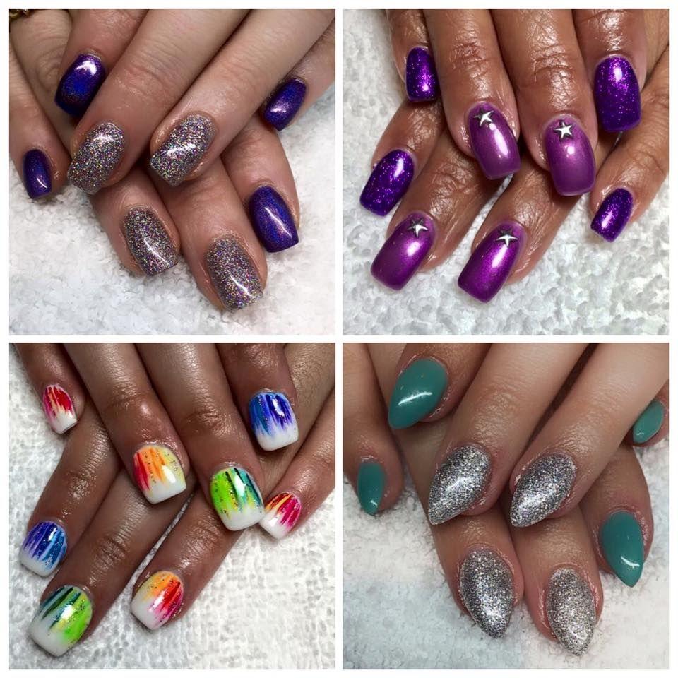 Nail Designs by Stefanie Abila Glitter / Rainbow / Stars / Stilettos ...