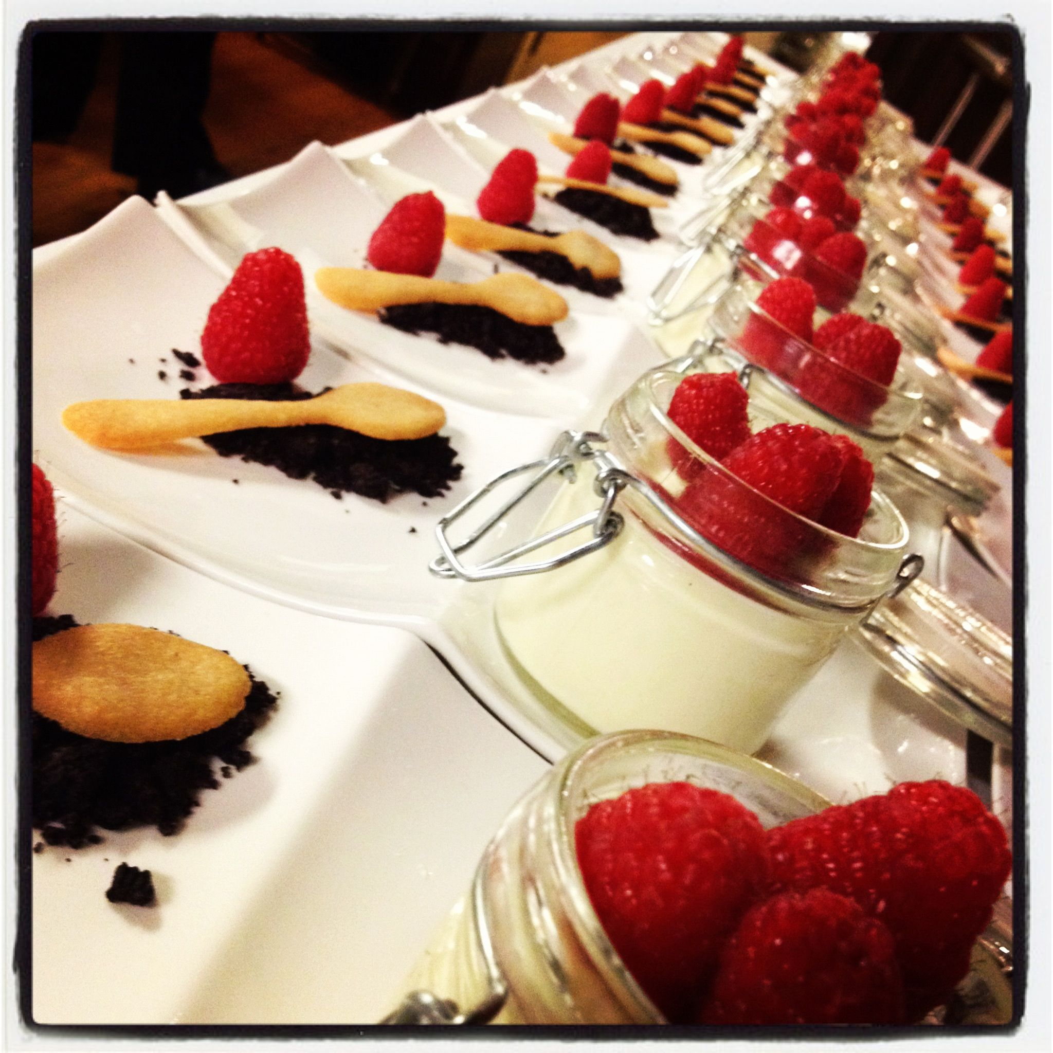 Passion fruit panna cotta with cookie spoon