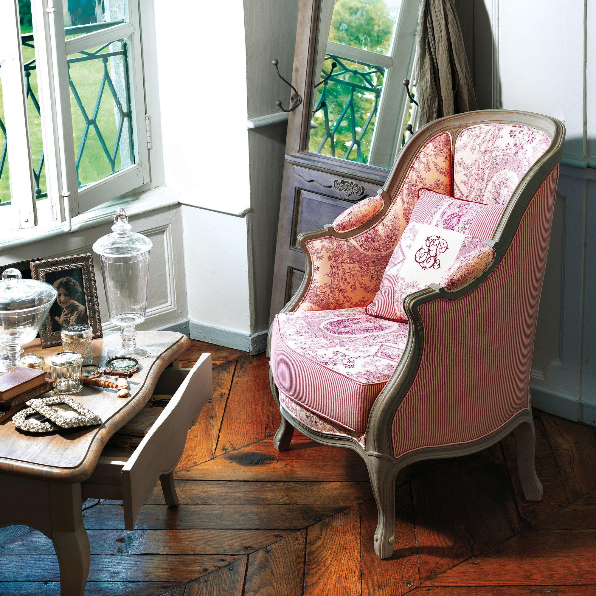 fauteuil berg re tapiss e 100 coton romantique pinterest. Black Bedroom Furniture Sets. Home Design Ideas