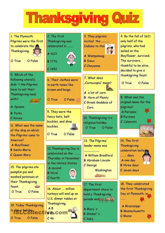 Thanksgiving Quiz | Homeschool | Pinterest | Thanksgiving, English and Activities