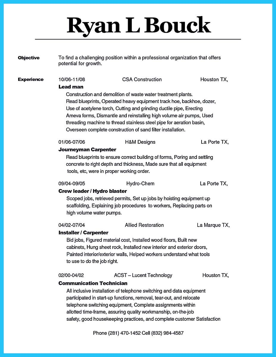 Cool Tips You Wish You Knew To Make The Best Carpenter Resume Check More At Http Snefci Org Tips You Wi Resume Examples Cover Letter For Resume Resume Words