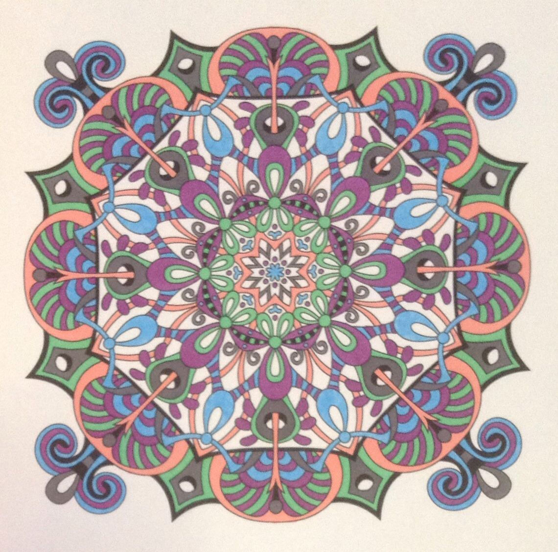 Angie Grace Mandala. Free download from her website. Coloured with sharpies. October 2015.