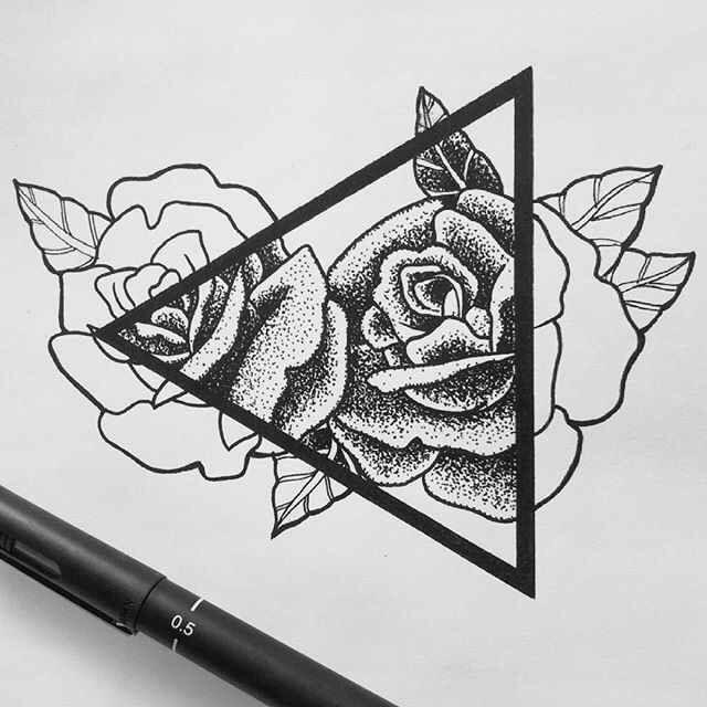 Resultado de imagen para tattoo rosas con triangulos | Lápiz | Pinterest