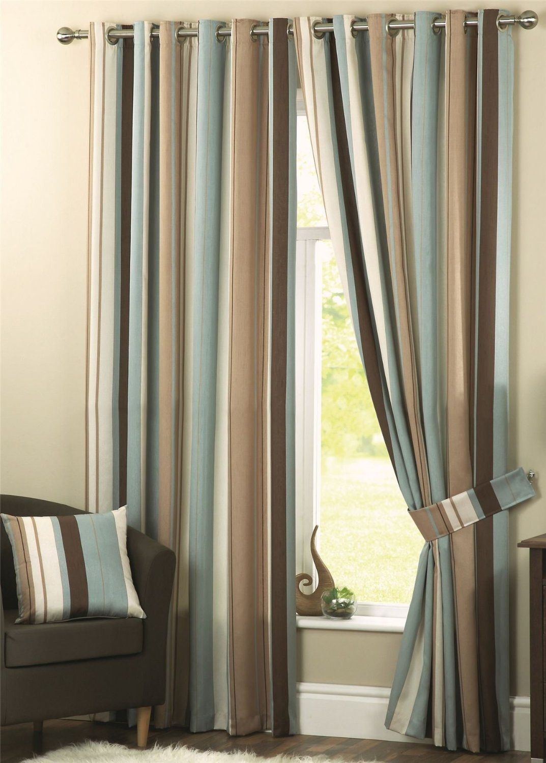 Wilson Striped Lined Curtains 90 X 72 Duck Egg Blue Chocolate