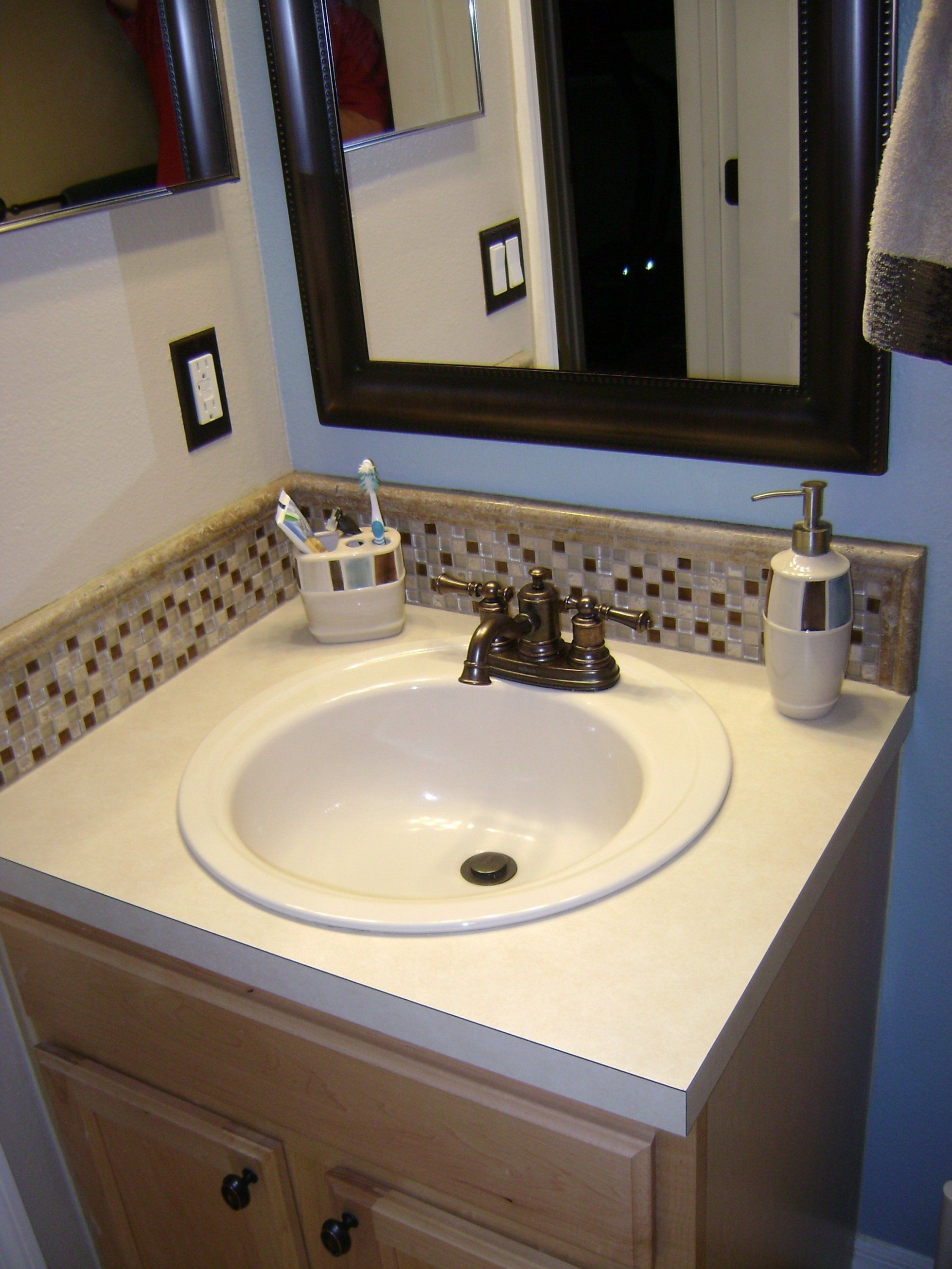 White And Brown Mosaic Tile Bathroom Sink Backsplash Ideas In L