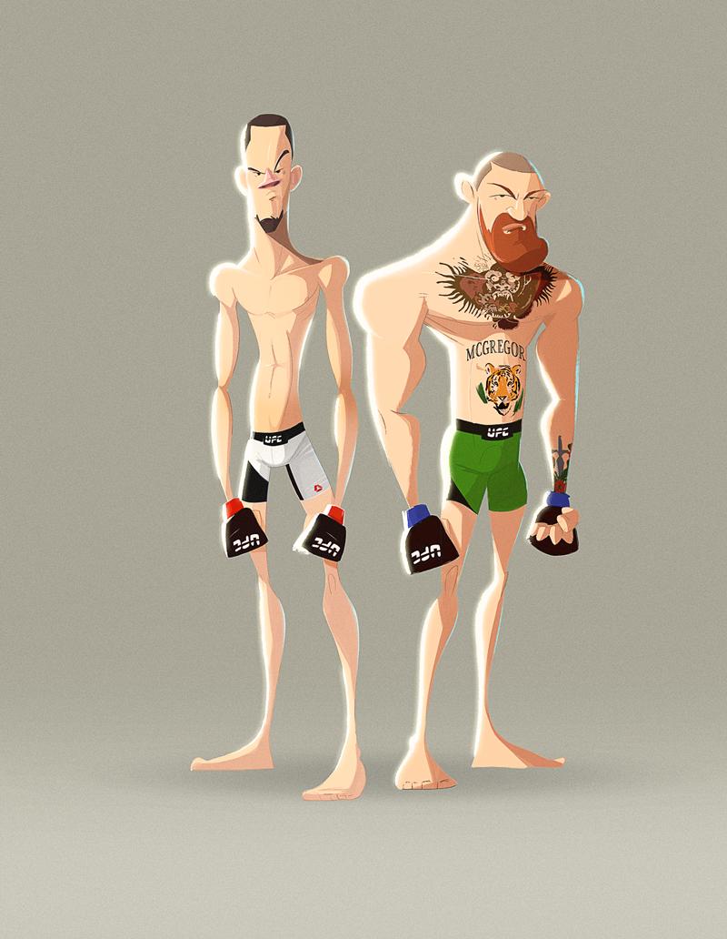 Diaz Vs Mcgregor 2 On Behance Character Design Fighting Poses Guy Drawing