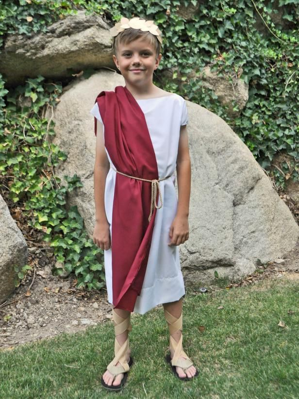 a10dc3afd Last-Minute Halloween Costume: Roman Toga | Easy Halloween DIY Ideas ...