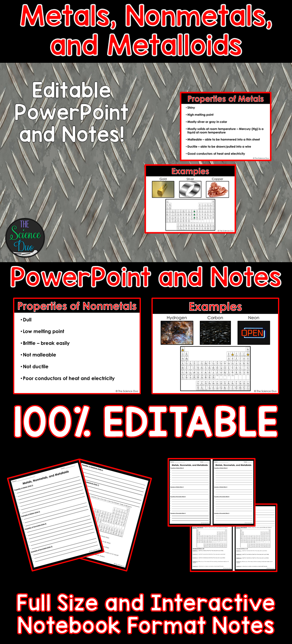 Metals nonmetals and metalloids powerpoint and notes pinterest introduce metals nonmetals and metalloids with this powerpoint presentation properties of metals urtaz Gallery