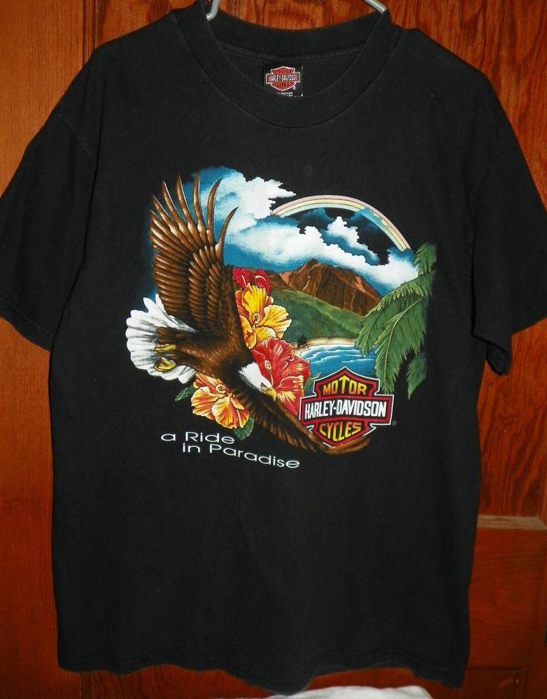 f1c653874a9c Harley Davidson Men's Ride in Paradise Hawaii T-Shirt Black Maui Large Vtg  90s #HarleyDavidsonHanesBeefy
