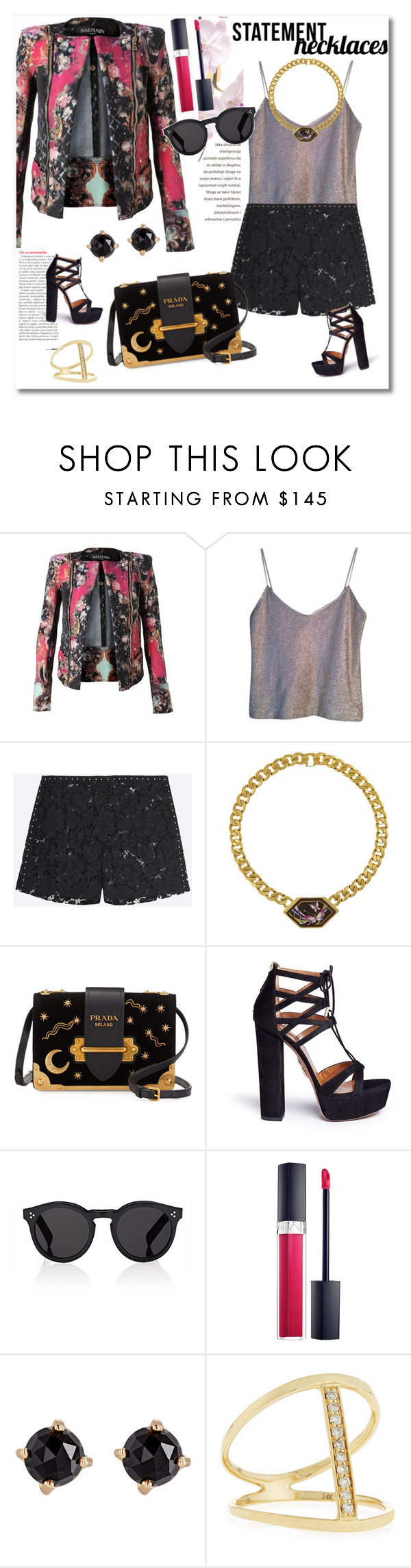 """Get the look"" by vkmd ❤ liked on Polyvore featuring Balmain, Narciso Rodriguez, Valentino, Prada, Aquazzura, Illesteva, Irene Neuwirth, Sydney Evan and statementnecklaces"