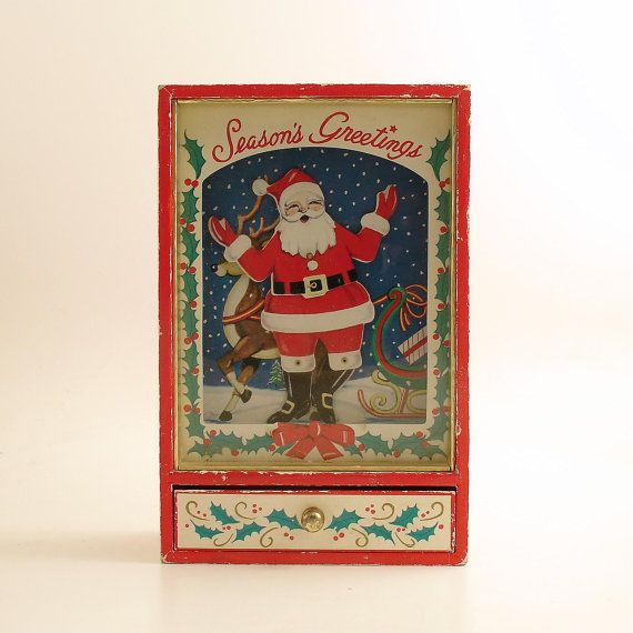 Christmas Dancing Santa.Vintage Christmas Dancing Santa Music Box By Efinegifts On