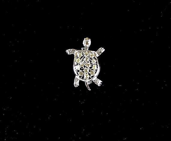 Vintage Turtle Brooch Silver Tone with Rhinestones by KatsCache, $14.95