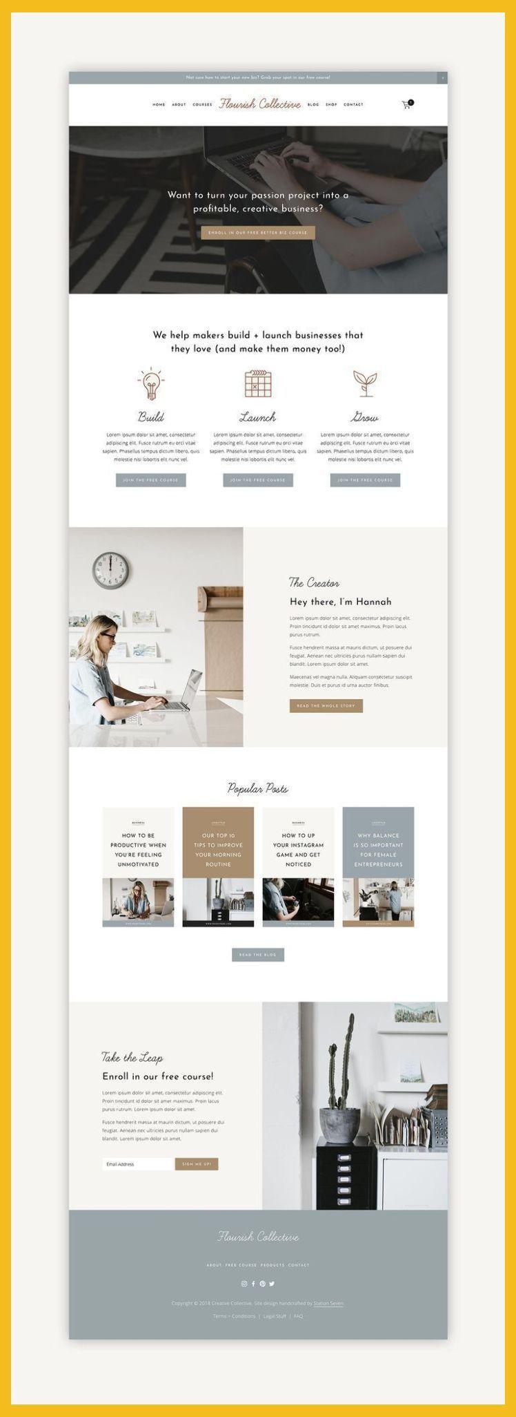 Web Design 2018 Flourish Squarespace Kit Station Seven Squarespace Templates Wordpress Web Design Websites Squarespace Web Design Web Layout Design