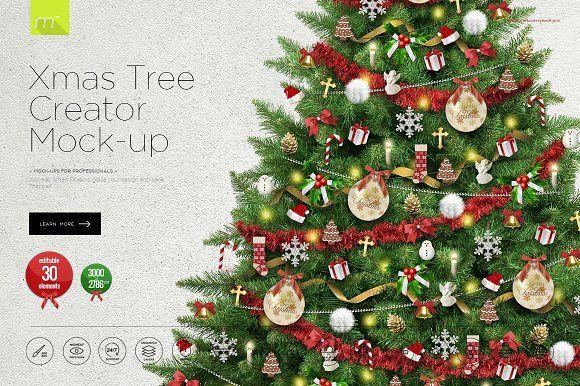 Christmas Tree Creator Mock Up Colorful Christmas Tree Christmas Graphics The Creator