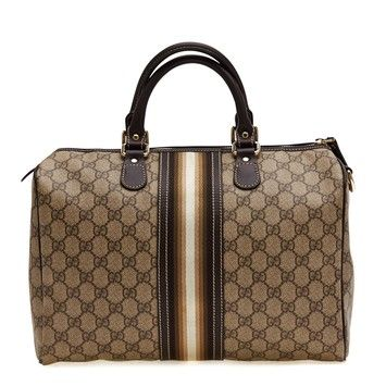 d882d2c3a17e Gucci Boston Gg Canvas With Signature Stripe Brown Tote Bag. Get one of the  hottest styles of the season! The Gucci Boston Gg Canvas With Signature  Stripe ...