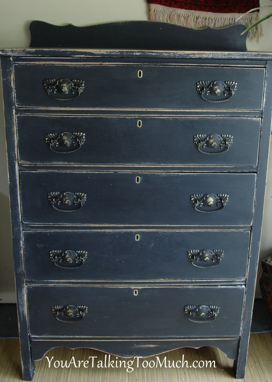 Painting furniture ideas distressed - Love This Distressed Black Dresser Try Poet S Paint In Blackbird