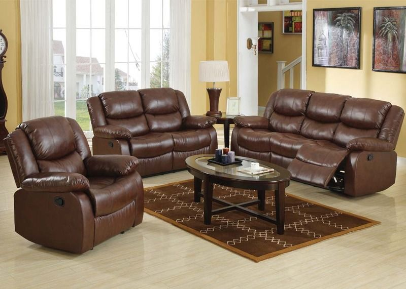 Acme Brown Leather Reclining Sofa Loveseat Recliner Motion Living Room