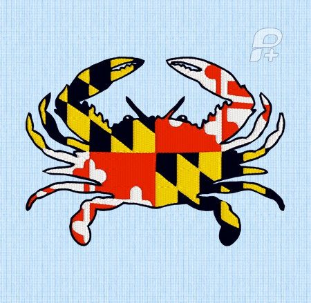 Maryland Full Flag Crab Sticker Crab Art Sillouette Art Barn Quilts