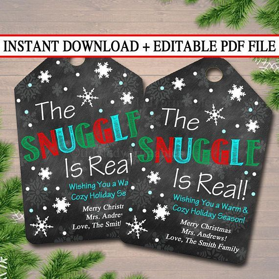 EDITABLE The Snuggle is Real Christmas Gift Tags, Secret Santa, Office Staff Teacher Gift Holiday Printable, White Elephant INSTANT DOWNLOAD #secretsantagifts