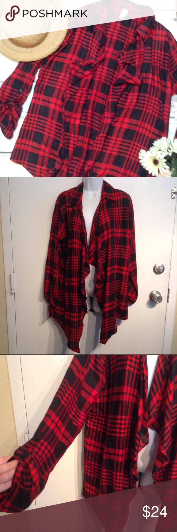 NWT Red & Black Checkered Plaid Flowy Cardigan NWT | Red black ...
