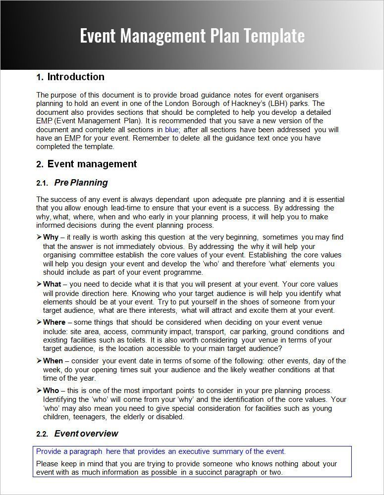 Example of Event Management Plan #eventplanningcompanies Event - Event Plan Template