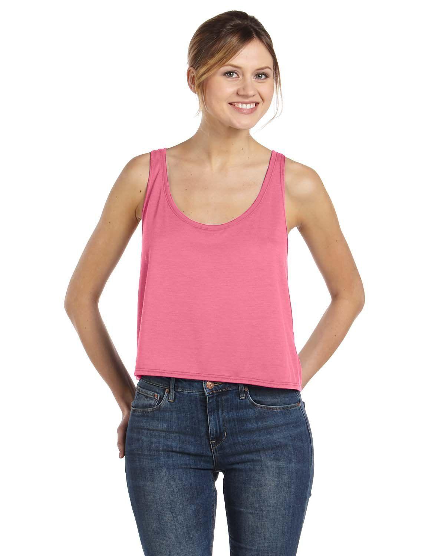 b7219542c653d Bella + Canvas Ladies Flowy Boxy Tank 8880 Neon Pink
