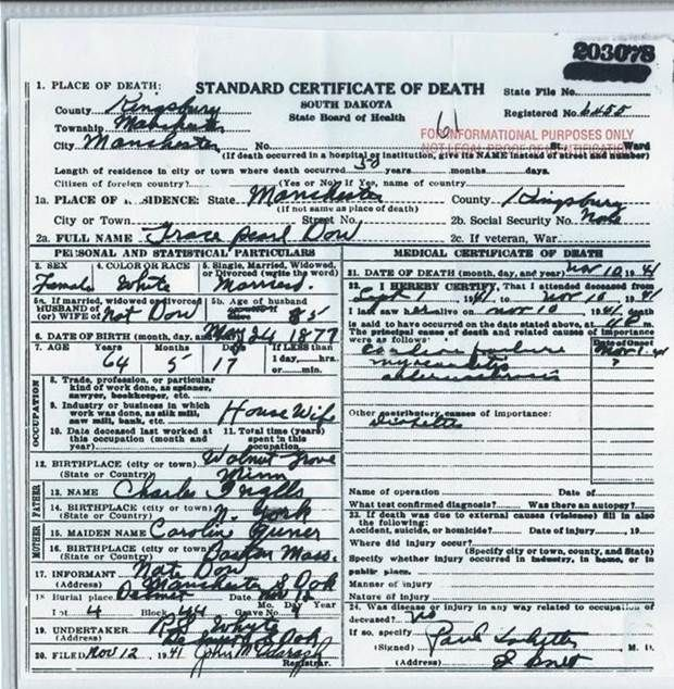 Grace Ingalls Death Certificate | Laura and Almanzo, Family, and ...