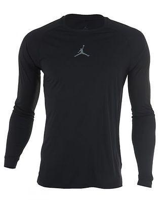 Nike Mens Training Shirt - Nike Jordan AJ All Season Fitted Long-Sleeve Black/Cool Grey W96d4905