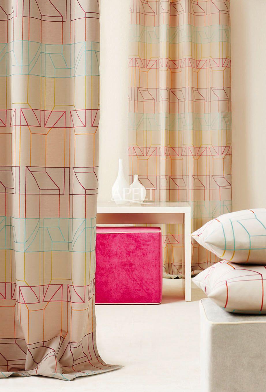 Farbakzente im Raum - Vorhang und Kissen CANON, Sitzwürfel TAHITI von Apelt
