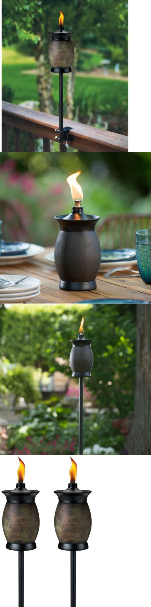 Garden And Patio Torches 183391: Tiki Torch Resin Jar Decor Outdoor  Lighting Table Patio Yard