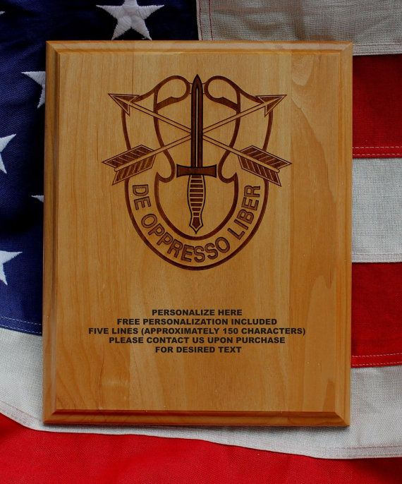 Personalized Special Forces Plaque De Oppresso Liber, Green