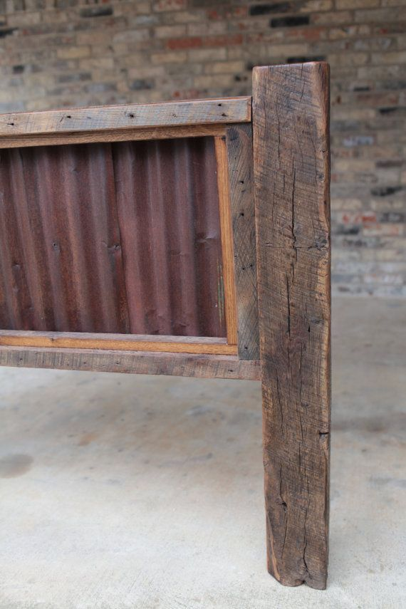 Rustic Headboard With Wood And Corrugated Tin Queen