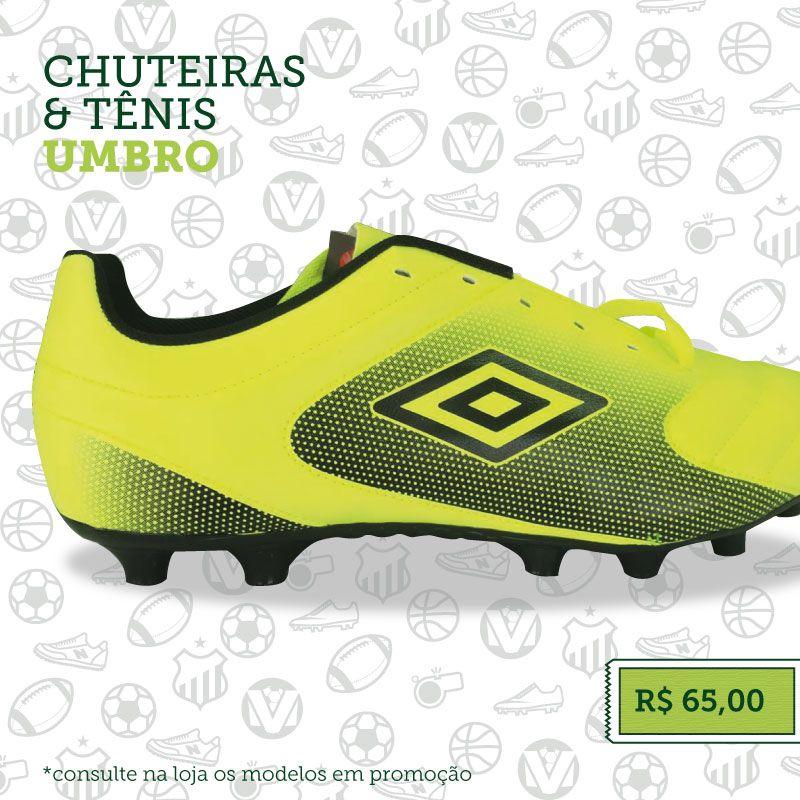 """""""Vários modelos de chuteiras de campo e tênis de futsal #Umbro com preço especialíssimo de R$ 65,00. ⚽"""""""