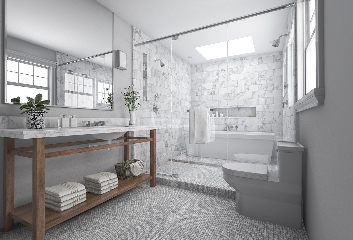 Tiny Gray Tiles Evoke A Modern Chic Touch To A Naturally Radiant Interior This Stunni Modern Master Bathroom Remodel Bathroom Interior Bathroom Remodel Master