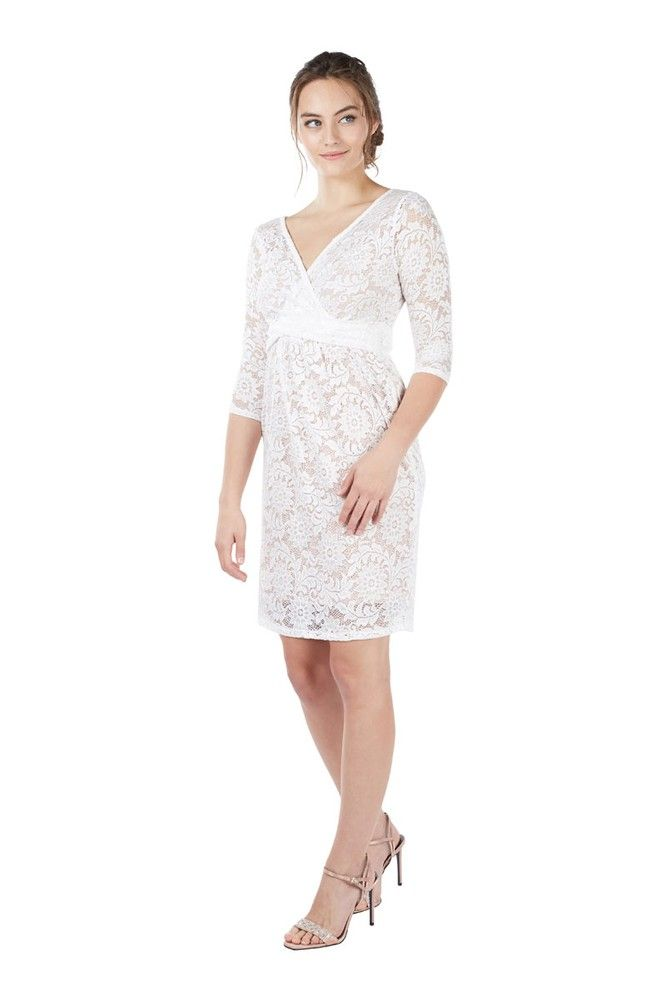 0716acb9106 Chantel 3 4 Sleeve Lace Nursing Dress (White) Please use coupon code  NewArrivals15 to receive 15% off these items. To receive the discount