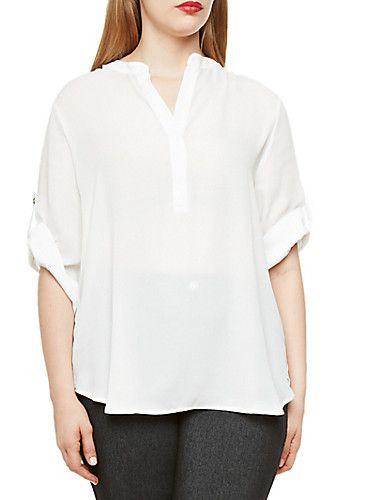 Plus Size Chiffon Tunic Top with Split Collar V-Neck - Rainbow - 3803058930801