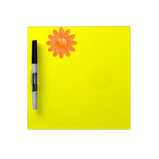 Peace Symbol Flower - Cantelope Orange Dry-Erase Whiteboards