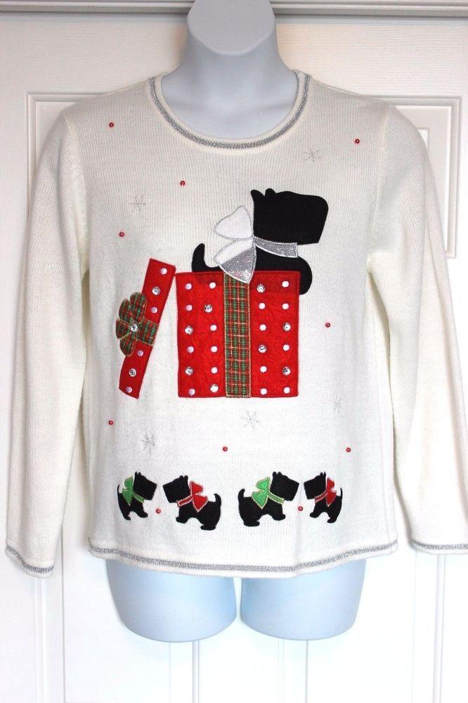 womens super cute scottie dog present ugly christmas sweater size l 1214 - Ugly Christmas Sweater Ebay