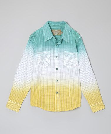 This Aqua & Yellow Cruiser Button-Up - Toddler & Boys is perfect! #zulilyfinds