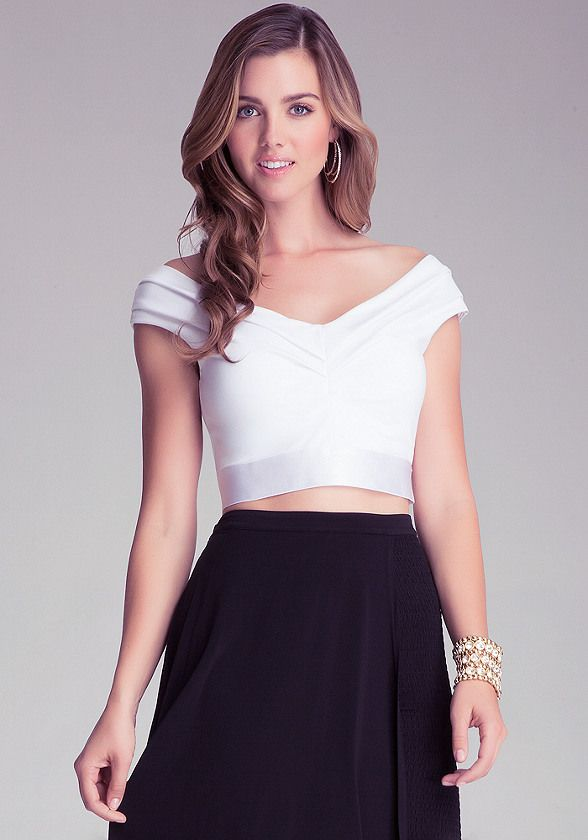 628f8542561 Off Shoulder Crop Top - All Clothing | bebe | Tops | Off shoulder ...