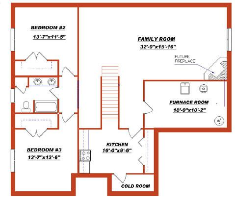 Bungalow plan 2011557 with a finished basement by e for Free finished basement plans