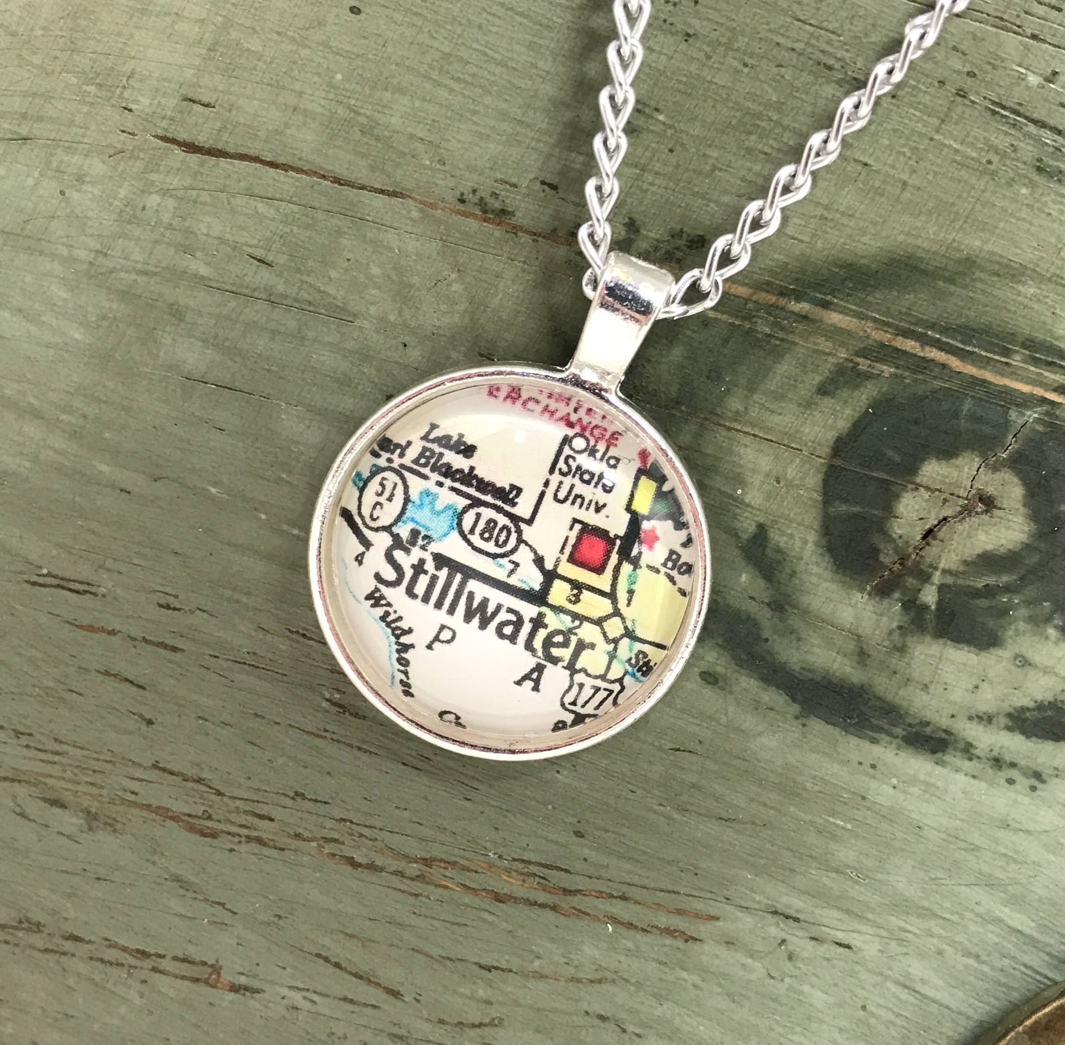Louisiana Deer Map%0A Stillwater Oklahoma Map Necklace  Vintage Map Pendant  Map Jewelry   Oklahoma State University Map