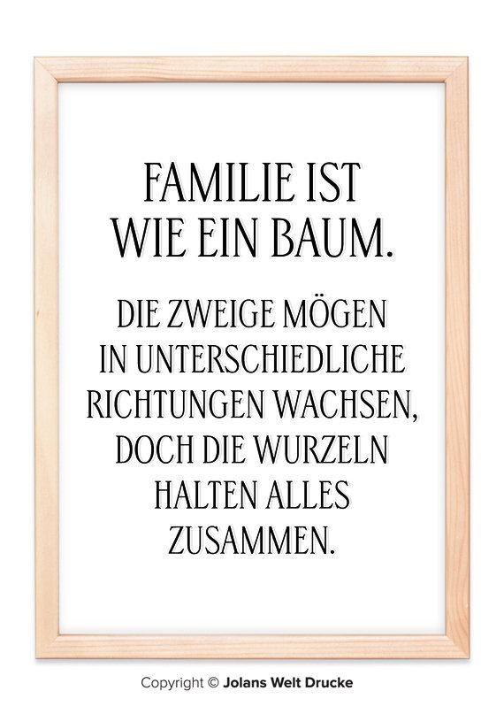 familie ist wie ein baum von jolanswelt kunstdrucke familie spruch zitat schriftzug. Black Bedroom Furniture Sets. Home Design Ideas