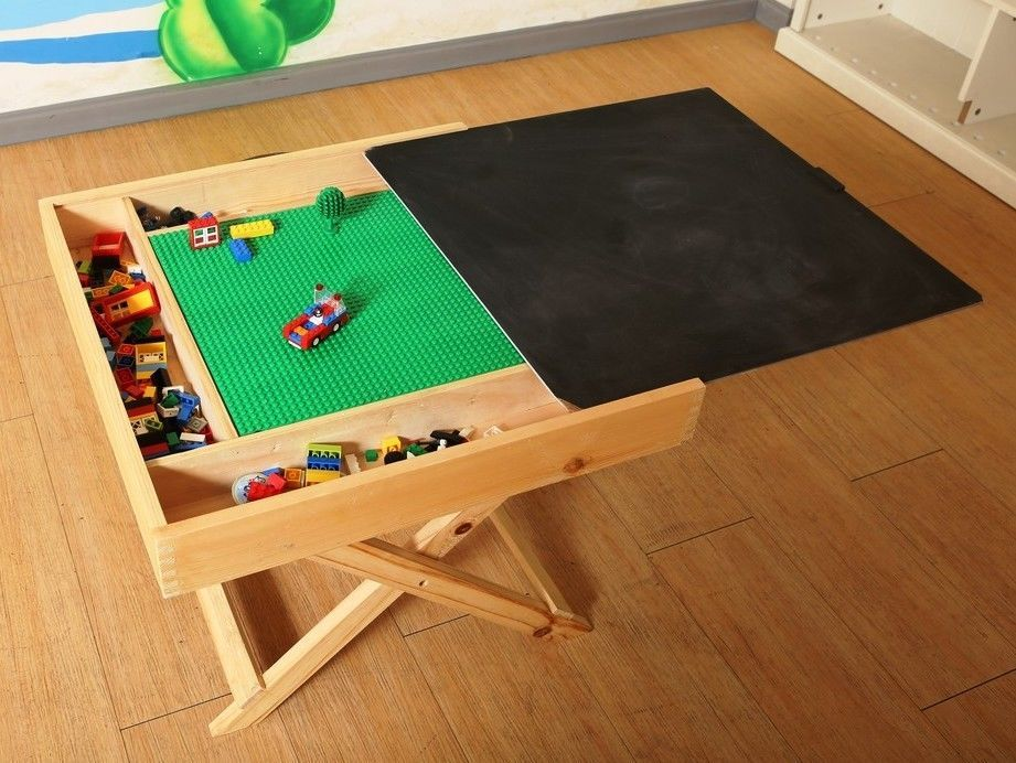 Lego Storage Play Table Folding Custom Made Wooden Chalkboard Kids Children  BFLT | Toys U0026 Hobbies