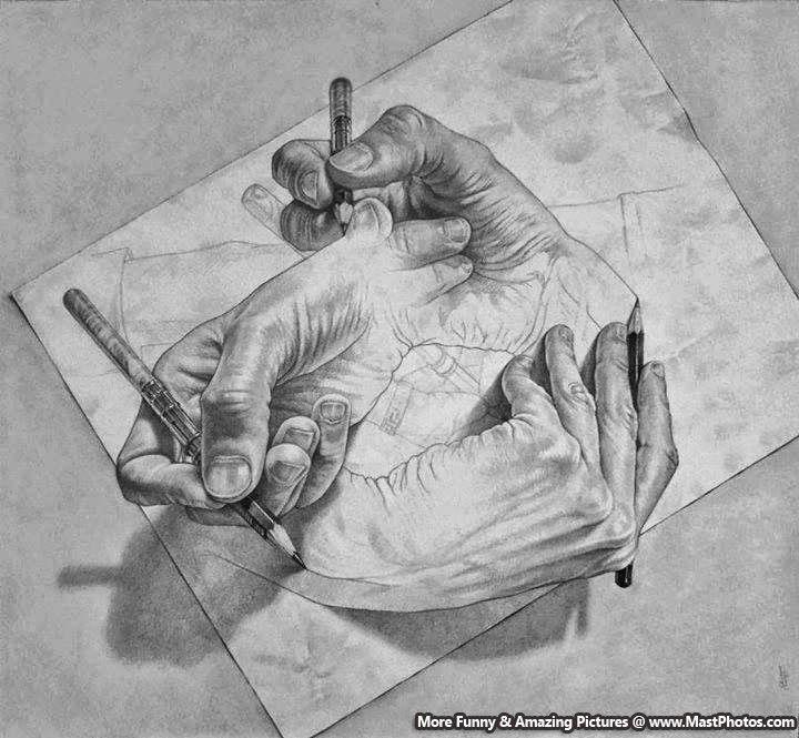3d pencil sketch amazing 3d hands illusion