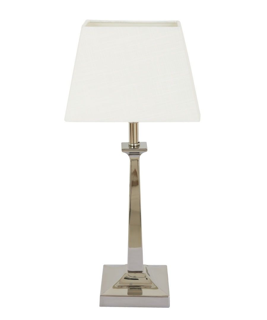 Small table lamps - Allegra 1 Light Small Table Lamp In Brushed Chrome White