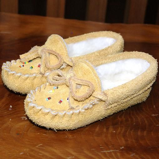 ffeaf0212cb Baby Genuine Moosehide Suede Beaded Moccasin Soft Sole Slippers - 402-B