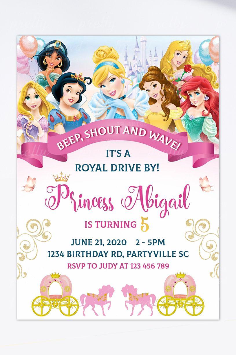 Disney Princesses Birthday Parade Invitation Disney Princess Invitations Disney Princess Birthday Party Happy Birthday Invitation Card