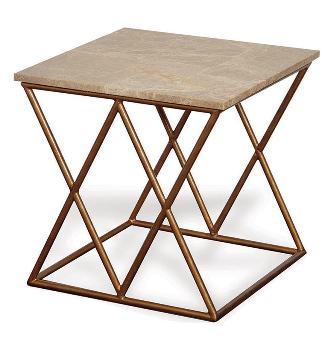 Contemporary French Gold Crossing Accent Side Table Marble Top
