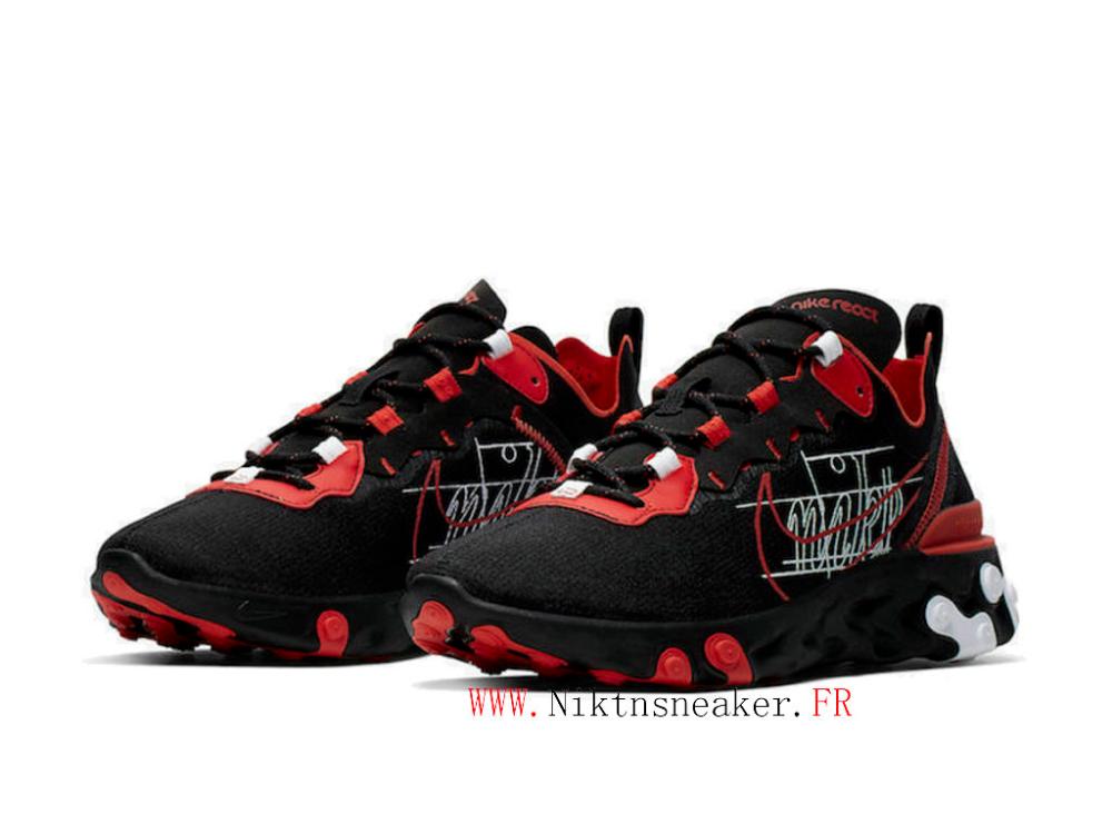 2020 Nike React Element 55 Script Swoosh Noir / Blanc / Rouge ...